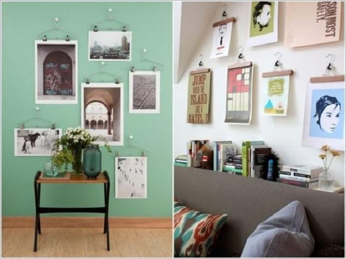 Точно понравится оформление стен при помощи картин размещенных на простых нитках, что станет находкой.