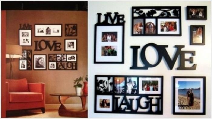 Оригинальное оформление стен при помощи просто отличного декорирования при помощи фоторамок с любимыми фотографиями.