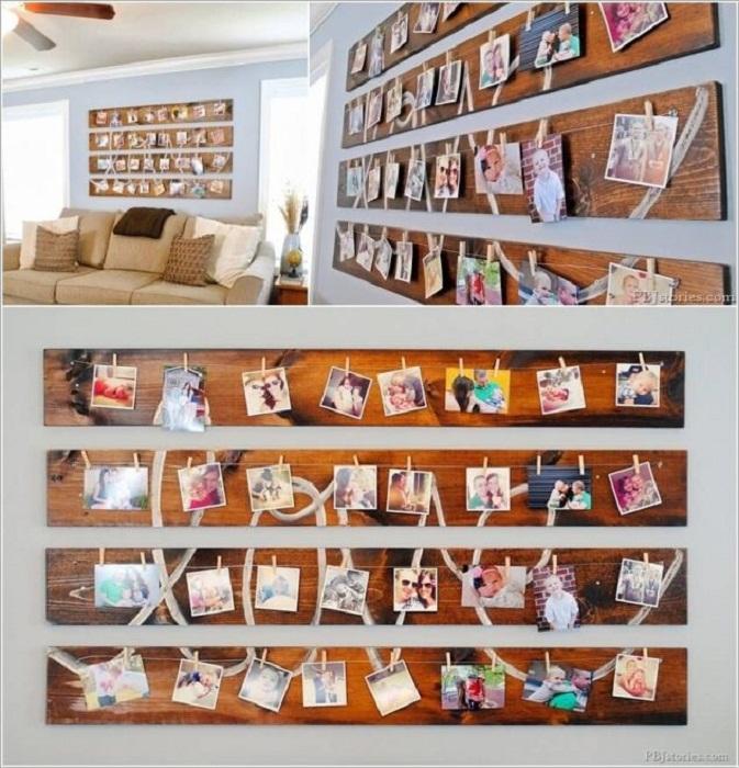Декорировать стену возможно доской на которой размещены фотографии.