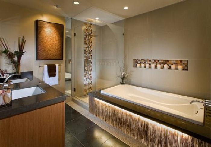 Отменное решение украсить ванную комнату нишей в стене, что создаст интересную обстановку.