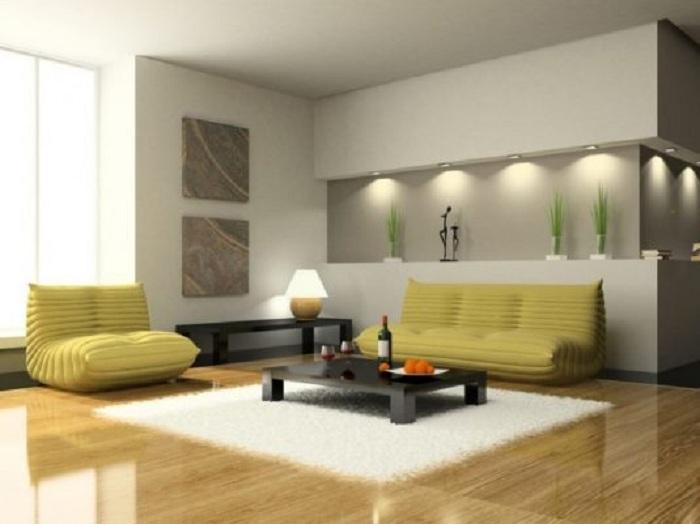 Оригинальная гостиная с горчичными диванами, интерьер которой позволит окунуться в полноценный отдых.