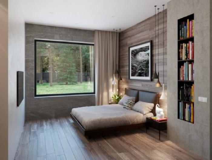 Интересные скрытые полки, которые станут изюминкой в оформлении этой спальни.