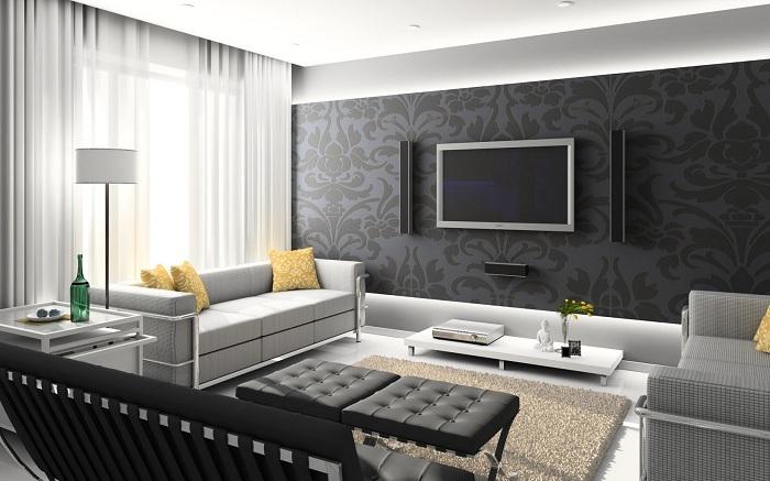Симпатичная спальня с интересными обоями в черном цвете с узорами, которые создают особую атмосферу в комнате.