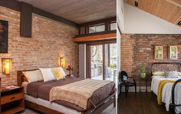 Интерьер спальни с кирпичной кладкой.