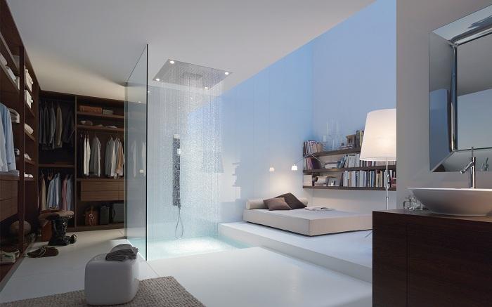 Необычное сочетание душа и спальни создает нестандартную атмосферу в домашнем быту.