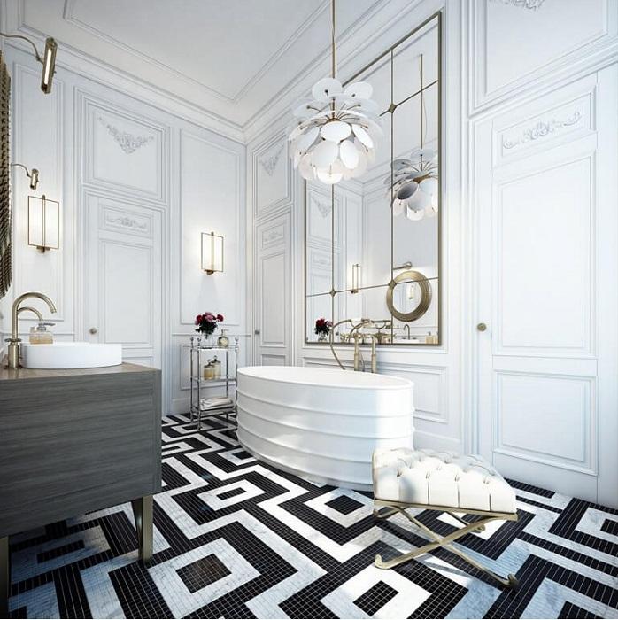 Отличная плитка в черно-белых тонах в виде симпатичного орнамента, то что нужно.