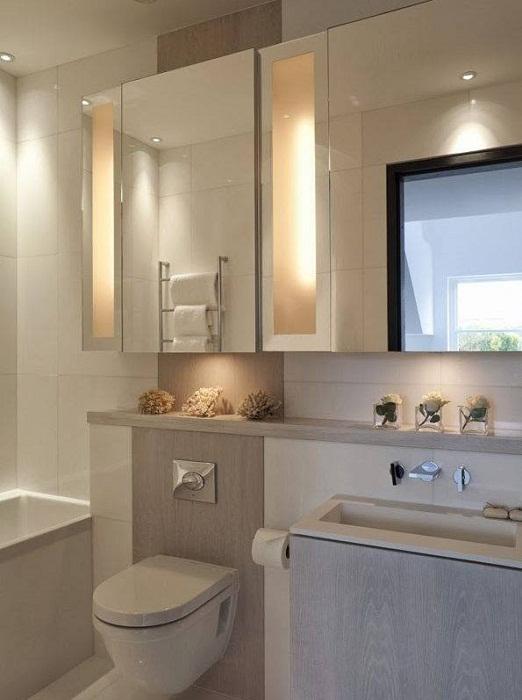 Отменный интерьер в нежно-кремовых тонах, что понравится и облагородит любую ванную комнату.