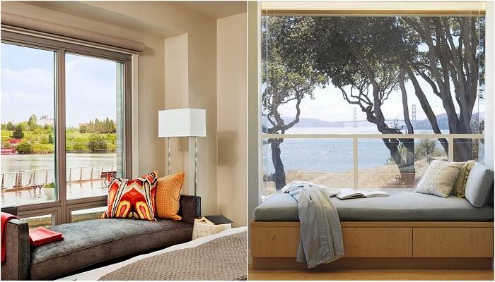 Преображение комнаты с помощью диванчика у окна.