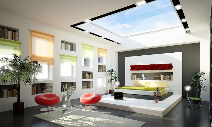 Интересное сочетание цветов и специфических элементов интерьера позволяет в целом оценить красоту комнаты с мансардными окнами.