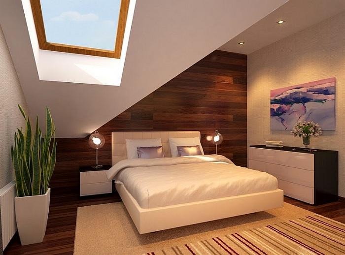 Сочетание светлых оттенков с деревом в интерьере комнаты придаст ей своеобразный шарм, плюс отличное мансардное окно добавит неординарности.