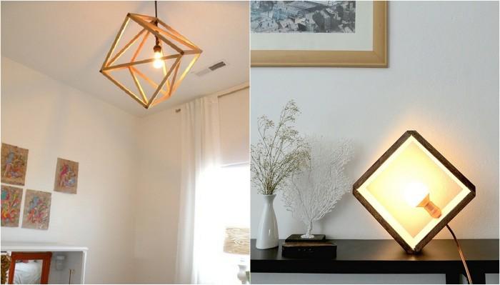 Примеры оформления комнаты при помощи оригинальных деревянных светильников.