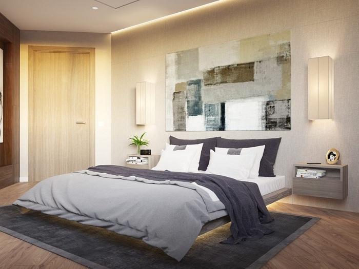 Хороший пример оформления спальной с оригинальной кроватью на деревянной платформе.