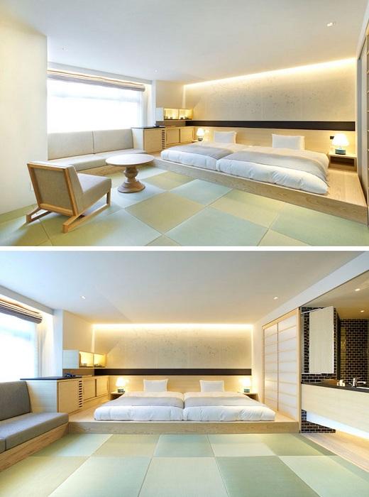 Светлый декор спальной с оригинальной кроватью на деревянной платформе, что создаст дополнительный уют.