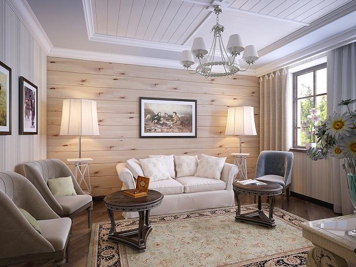 Потрясающее декорирование гостиной в невероятно теплом оформлении.