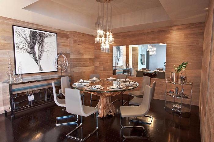 Прекрасный пример удачно оформить столовую с натуральными текстурами.