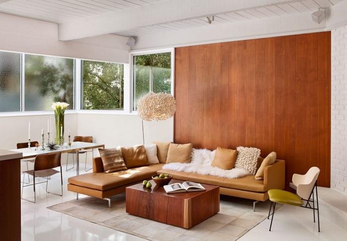 Оптимальное решение оформить гостиную с помощью акцентной стены.