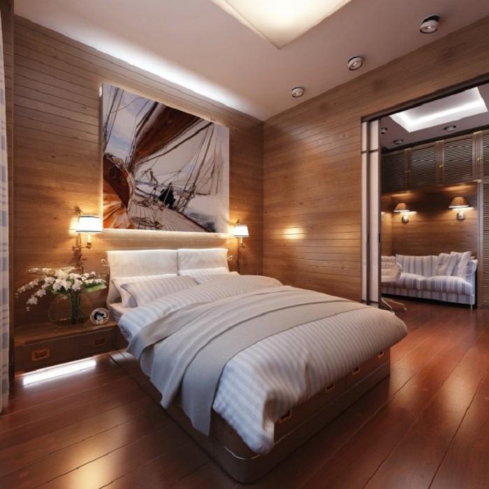 Акцент на стенах одно из нестандартных решений для спальной.