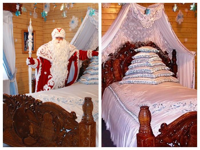 Центральное место в спальне отведено удивительно красивой кровати, изготовленной из дерева