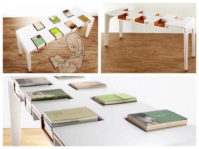 Стол с нишами для книг