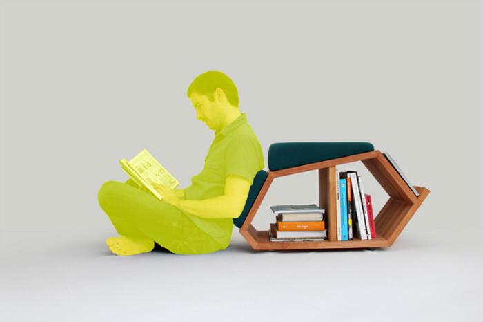 Сквозная тумбочка с удобными мягкими сидениями для тех,кто любит читать на полу