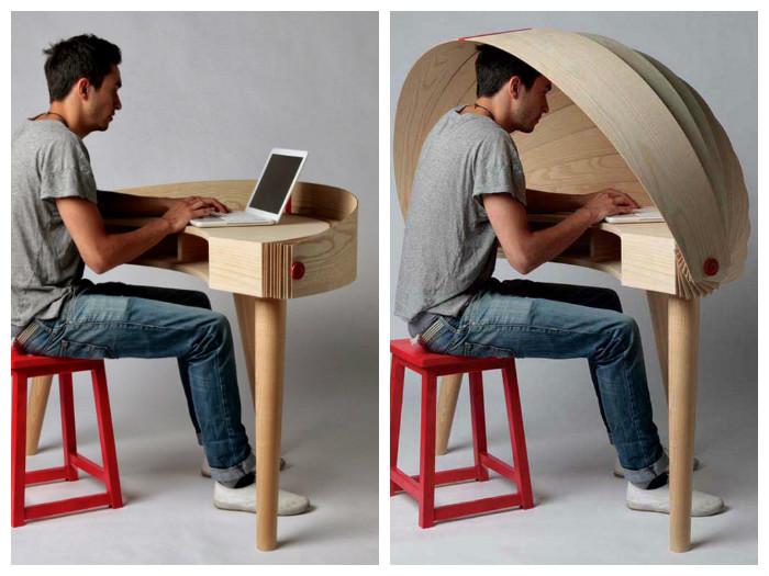 Стол оснащённый «капюшоном» для уединения(дизайнер Sophie Kirkpatrick)