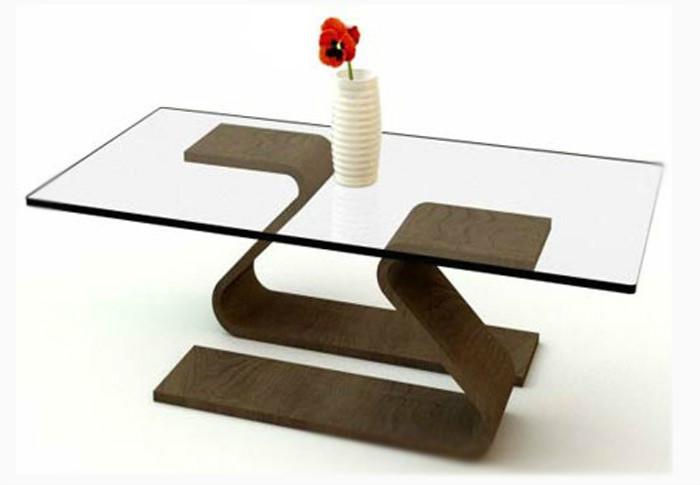 Модный журнальный столик изготовлен в минималистическом стиле с применением изогнутой фанеры