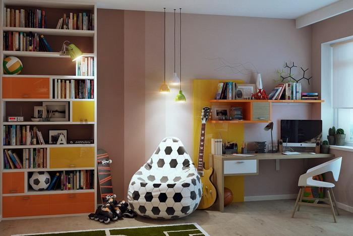 В комнате подростка отлично смотрится кресло в виде футбольного мяча