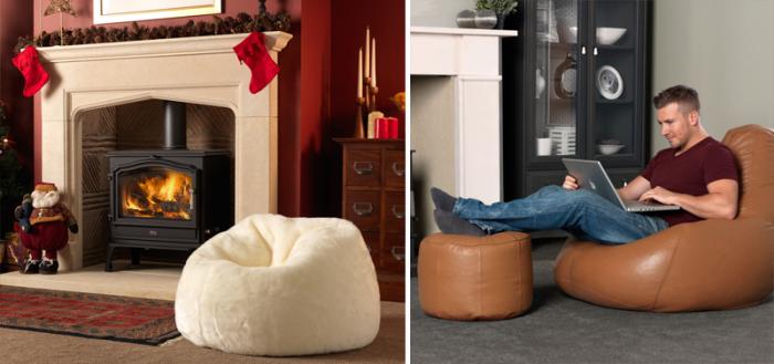 В гостиной комнате уместны кресла с кожаной обивкой: идеальное решение для оформления каминной зоны