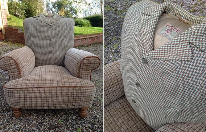 Для обивки мебели использовали старые пальто, шинели и пиджаки