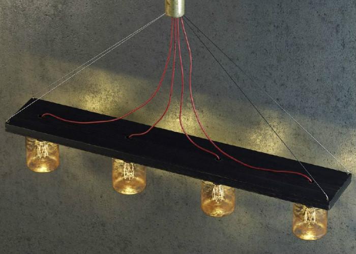 Стеклянные банки – основа винтажного подвесного светильника