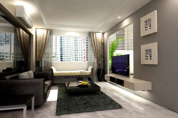 Современная идея оформления небольшой гостиной комнаты.
