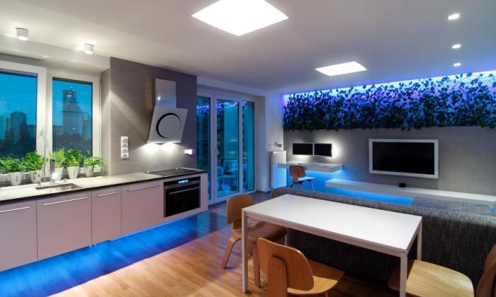 Потолочные споты, отлично дополняющие правильным освещением интерьер кухни.
