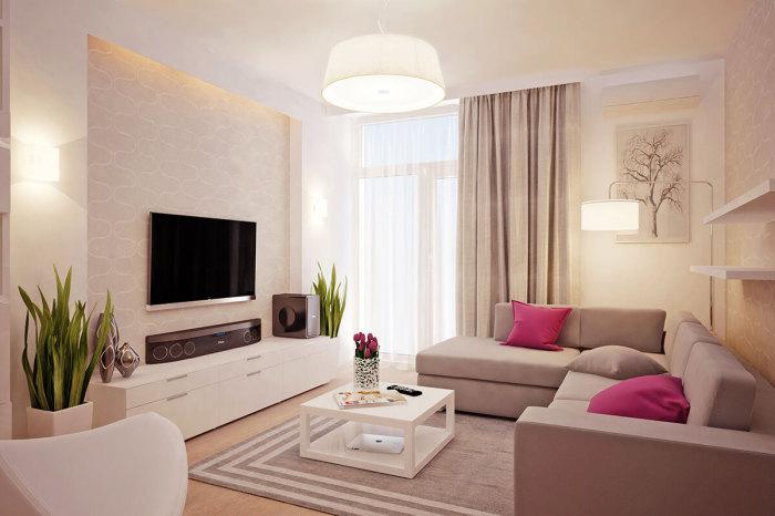 Нередко в современном дизайне встречаются гостиные, стилизованные под индивидуально-женский стиль.