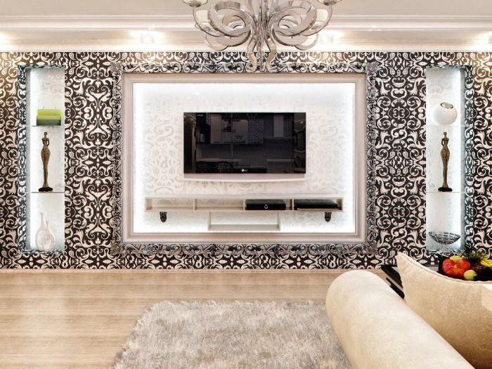 Оригинальная гостиная комната, изюминкой которой стала зона для просмотра телевизора.