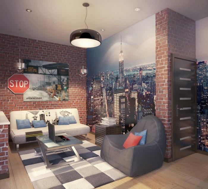 Современное направления в дизайне интерьера в стиле лофт для подростковой комнаты.