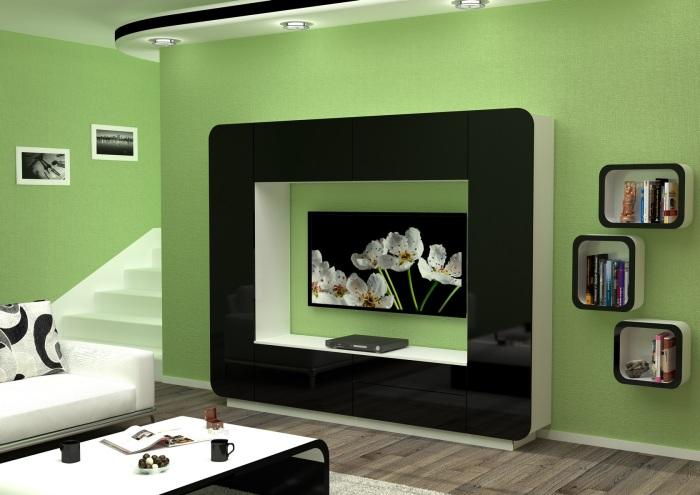 Эксклюзивная дизайнерская мебельная конструкция под телевизор в интерьере гостиной комнаты.