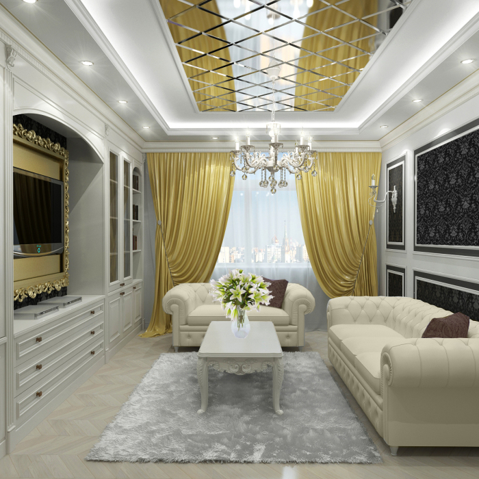 Небольшая гостиная комната с золотистыми шторами.