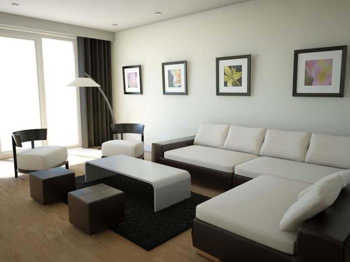 Небольшая гостиная комната в стиле минимализма.