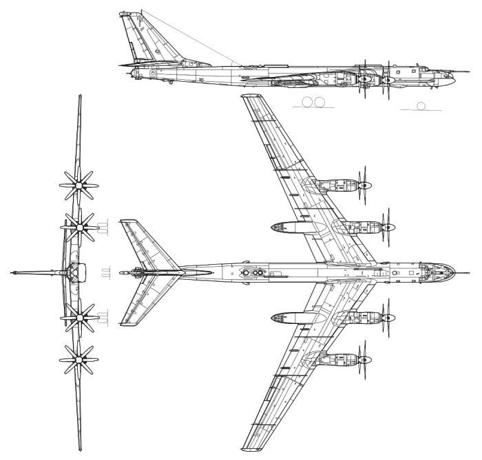 Компоновка фюзеляжа и чертежи турбовинтового стратегического бомбардировщика Ту-95.