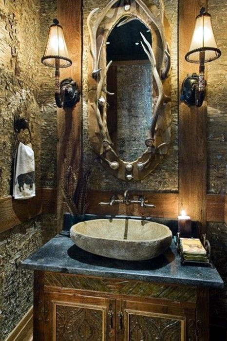 Современную ванную комнату в стиле кантри оформляют исключительно натуральными материалами.