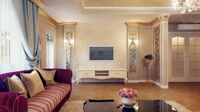 Гостиная комната с белоснежными стенами, журнальным столиком из лакированной древесины, удобным диваном розового оттенка, деревянным паркетом и восхитительной лепниной.
