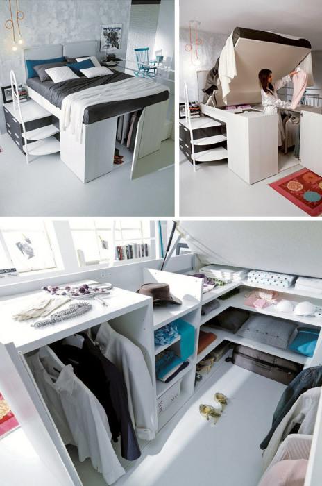 Если площадь вашей спальной комнаты небольшая, тогда вам подойдет вариант мини-гардеробной под спальным местом.