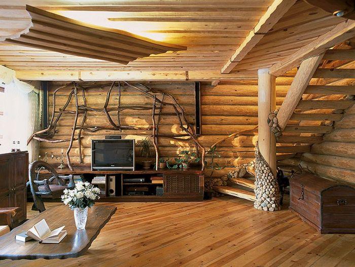 Отличный вариант оформления гостиной комнаты в стиле Кантри.