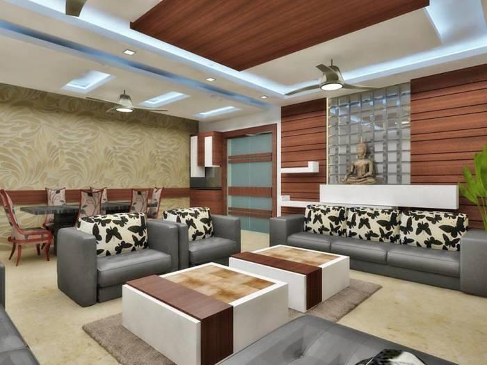 Просторная гостиная комната с классическими элементами восточного стиля.