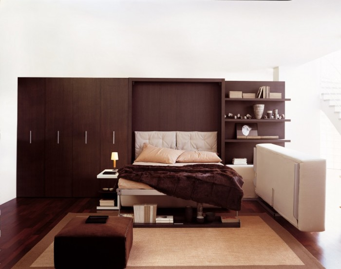 Оригинальная раскладная кровать для малогабаритной квартиры и для любителей минималистского стиля.