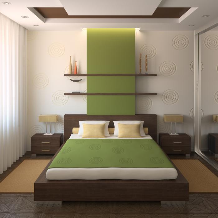 Яркий салатовый акцент - отличное решение для небольшой спальной комнаты.