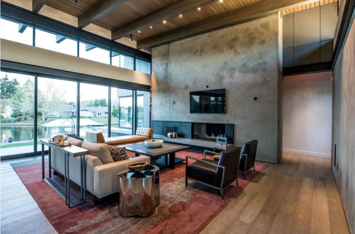Главная идея современного стиля в гостиной комнате - это практичность, простота, комфорт и уют.