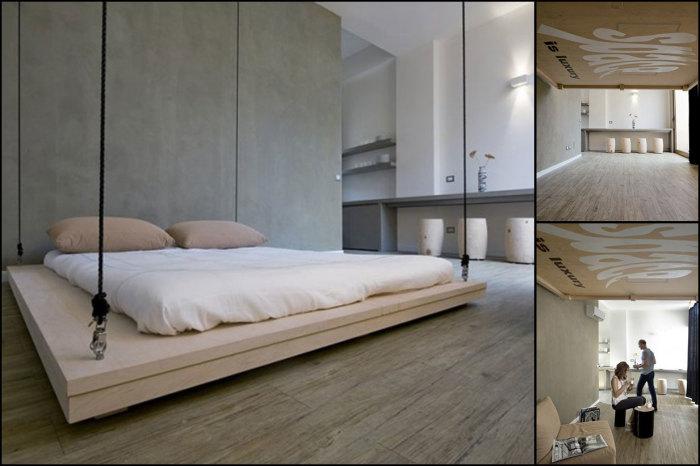 Подвесная кровать не только оригинально смотрится в малогабаритной спальной комнате, но и весьма комфортна.