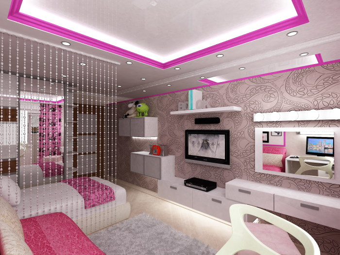 Современный и лаконичный интерьер спальни для девочек.
