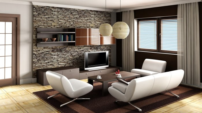 Стена, облицованная искусственным камнем, гармонично дополняет зону для просмотра телевизора.